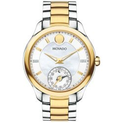 Ladies' Movado Motion Bellina Two-Tone Mother-of-Pearl and Diamond Watch