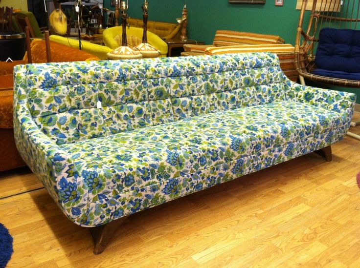 Blue And Lime Green Floral Print Long Sofa With Curved