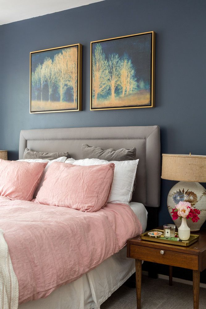 vintage home bedroom - gold and deep blue color scheme with grey accent