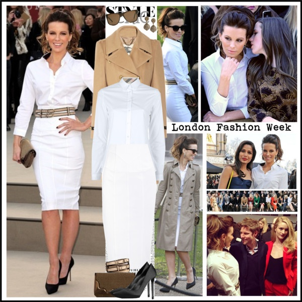 """Kate Beckinsale at the Burberry Prorsum show during London Fashion Week, Feb 18"" by robilollo on Polyvore"