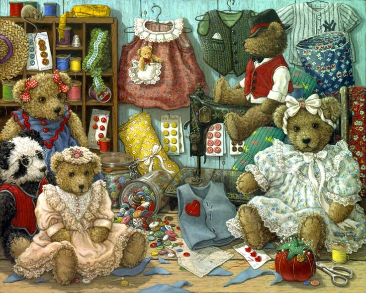 Teddy Bear Wear, a painting of teddy bears and various teddy apparel in stages from pattern cutting to assembly, one of the Janet Kruskamp T...