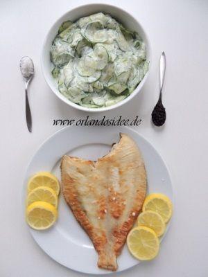 Gebratene Scholle - mit Gurken Dill Salat - Orlandosidee Rezept