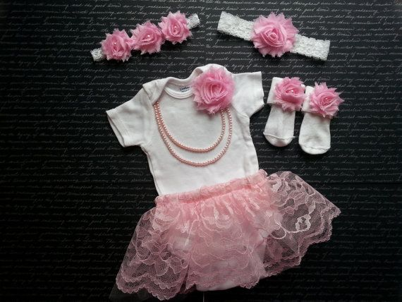CUSTOM ORDER Baby Girl, Newborn Take Home Outfit, Socks 2 Headbands Skirt, Pink Flowers, Pink Lace & Tulle, Pearl Necklace, Shabby Headband