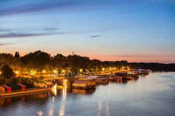 Party barges (splavs), Sava river, Belgrade