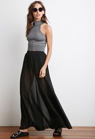 Sheer Overlay Maxi Skirt | Forever 21 - 2000077994