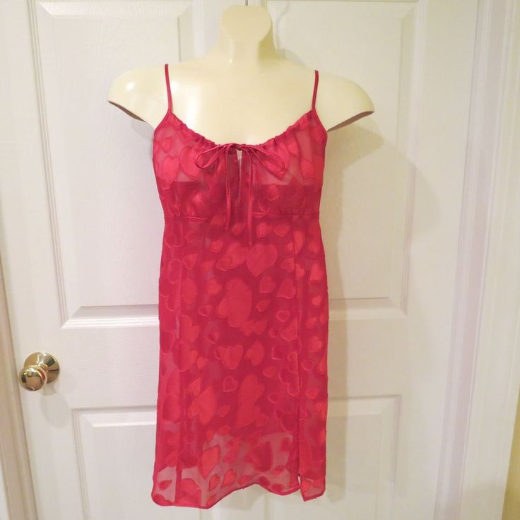 SALE!!   Frederick's of Hollywood Red Sheer Nighty w/Red Hearts Size Small  #FredericksofHollywood