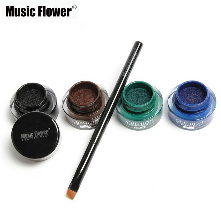 Music Flower Brand 4 Color Air Cushion Eyeliner Gel Waterproof Cosmetics Matte Eye Liner Gel Long Lasting Naked Smoky Makeup