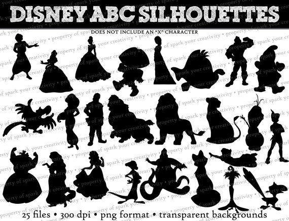 Disney ABC Silhouettes // Ariel Eric Gaston by SparkYourCreativity, $ ... Pixar Character Silhouettes
