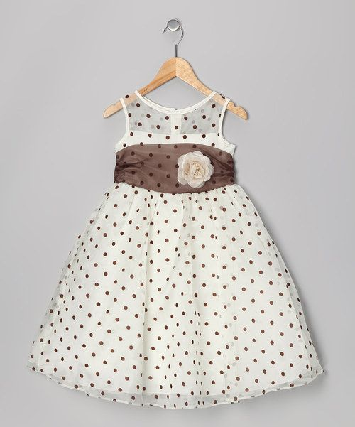 Take a look at the Ivory & Brown Polka Dot Dress - Infant & Toddler on #zulily today!
