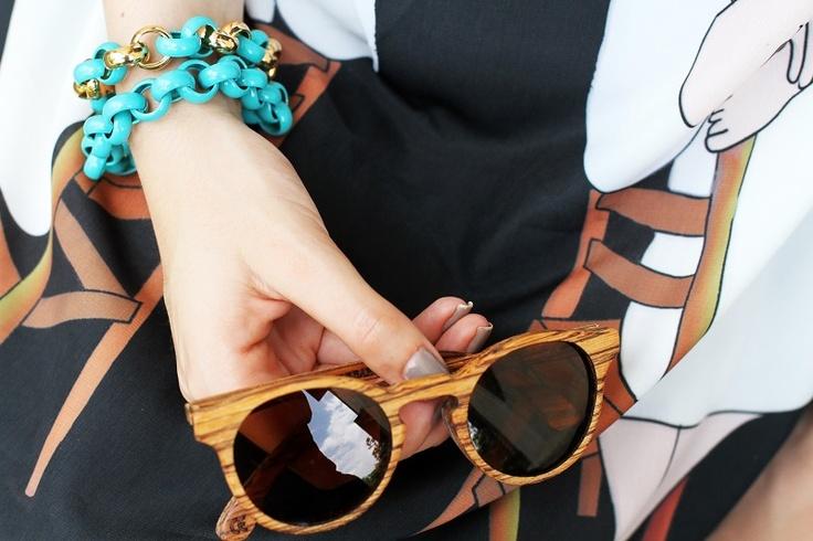 wood sunglasses and blue bracelets   fashion blogger, fashion blog Irene's closet www.ireneccloset.com