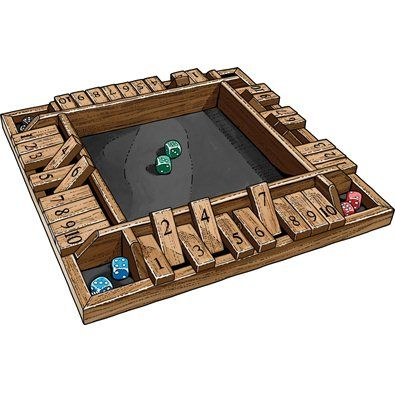 "4-Way Shut the Box Game-This old English pub game is so engrossing, you may not notice when spring comes! And it's a fun, fast-paced way to polish up the kids' math skills. Heck, they won't even know they're learning. Roll the dice and topple the pin or combination of pins that add up to the score you rolled. Turn ends when you can't turn down another pin. Lay down all the pins, and you've ""Shut the Box!"" Wood construction for years of good times and togetherness. Ages 8 and up"