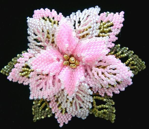Beautiful beadwork here. Pink Holiday Pin Karla Gee