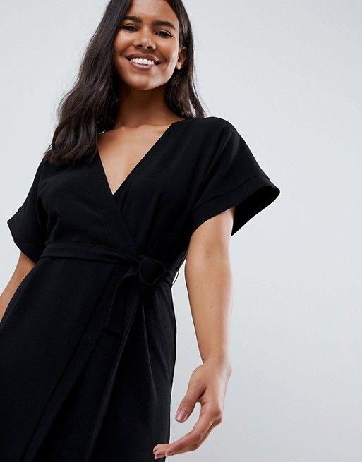 d5f5bc8b4952f5f Платье миди с запахом ASOS DESIGN | dresses | Dresses, Winter ...