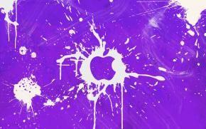 Логотип Apple Inc, всплески на фиолетовом фоне