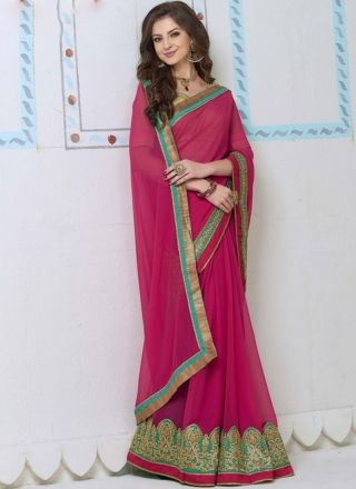 Rani Pink Georgette Embroidery Work Border Lace Banarasi Silk Designer Sarees  www.angelnx.com/Sarees