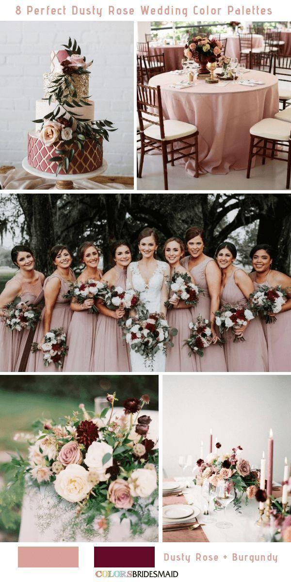 8 palettes de couleurs de mariage parfaits Rose poussiéreuse pour 2019 – Wedding colors