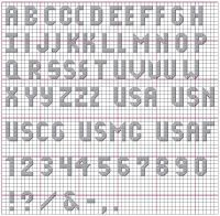 Small, not-boring cross stitch alphabet. Different widths of some letters (can be very skinny/narrow). Includes numbers and punctuation. // Dog Tags Alphabet - from better-cross-stitch-patterns.com