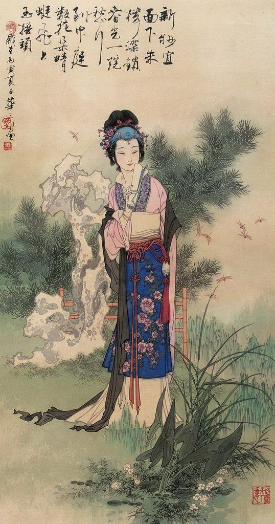Hua Sanchuan(华三川) ,  1986年作 院锁春光图 华三川(1930-2004)浙江镇海人,现当代杰出的工笔人物画家,曾担任中国美协会员、上海美术家协会理事、上海少年儿童出出版社专业画家、上海市文史研究馆馆员。在他的六十年艺术生涯中,勤奋耕耘,勇攀高峰,在继承传统的基础上,进行变革和创新,形成了自己独特的艺术风格,在中国工笔人物画领域里独树一帜,引人注目。至今已有《锦瑟年华》,《华三川人物画集》,《华三川人物线描画搞》,《华三川绘新百美图》,《华三川人物新作选》等十多部大型画集出版发行。