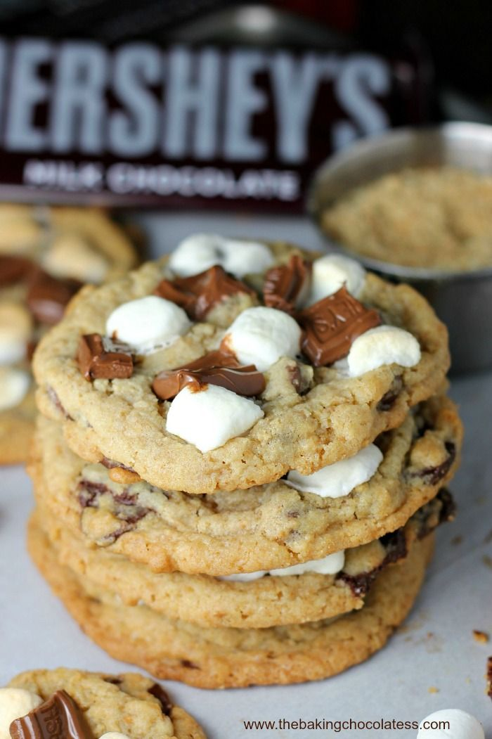 S'more Chocolate Chip Gooey Bliss Cookies via @https://www.pinterest.com/BaknChocolaTess/