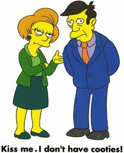 The Simpsons Cartoon TV Show Iron-on Transfer - Principal Skinner and Mrs. Krabappel/Kiss Me. I Don't Have Cooties!