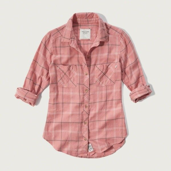 Abercrombie & Fitch Lightweight Flannel Shirt (1635 NIO) ❤ liked on Polyvore featuring tops, pink plaid, plaid top, tartan shirt, pink shirt, tartan flannel shirt and red shirt