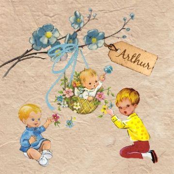 #Geboortekaartje voor klein broertje, 3e zoon Arthur | baby met 2 grote broers