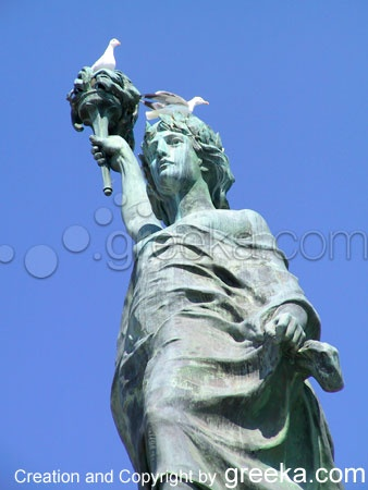 The statue of Mytilene in Lesvos http://www.greeka.com/eastern_aegean/lesvos/lesvos-photos/02-mytilini-b.jpg