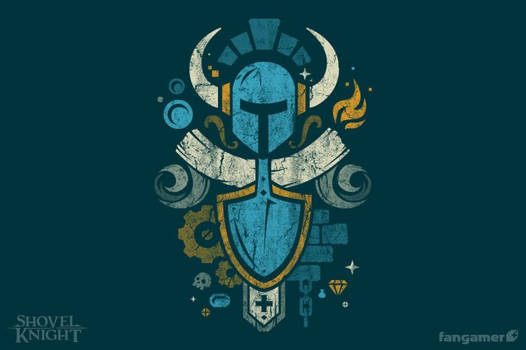 """Shovel Knight follows an ancient code of 8-bit honor.GarmentUnisex XS-2XAmerican Apparel BB401Unisex 3X-6XGildan 2000Women's XS-4XDistrict Made DM108LOur noble friends atForward Printing used waterbase inks tomake this Jon Kay design exactly as soft as the 50/50 shirts it's printed on. Each officially licensed shirtcomes with a big, clear 3"""" sticker."""