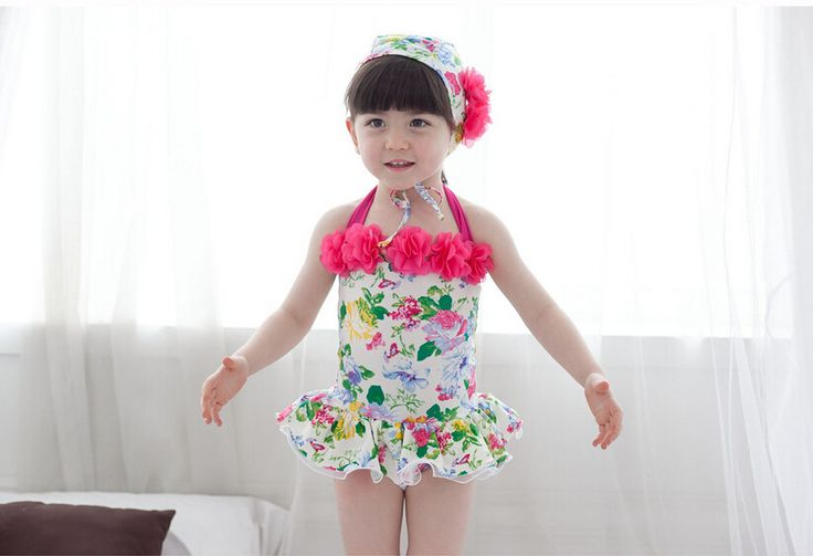 Baby Girl Printing Floral Halter Bandage One Pieces Swimwear Lovely Children Applique Swimsuits Cover Ups Costumi Da Bagno EF744