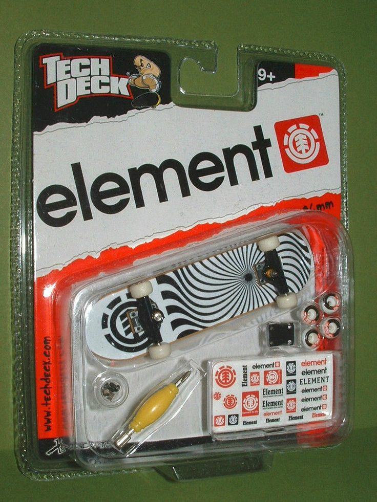 RARE Tech Deck ELEMENT Swirl BLACK TRUCKS Fingerboard 96mm
