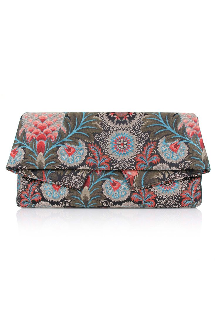 Vivienne Westwood Jungle 190059 Large Clutch Bag in grey.  Vivienne Westwood's beautifully elegant fold-over clutch bag is made from a floral embroidered cotton with a contemporary tapered silhouette.  Fastening with a magnetic closure, the women's bag opens to reveal the lined interior divided in two with an internal zip pocket for additional storage.