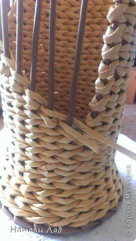 Мастер-класс Поделка изделие Плетение МК бутылочницы с цветочками Трубочки бумажные фото 24