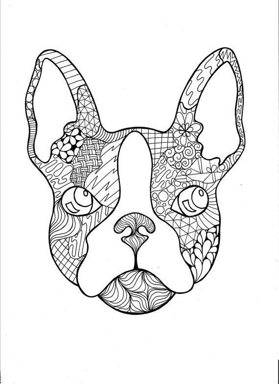 French Bulldog Zentangle Pdf Coloring Page Etsy Dog Coloring Page Coloring Pages Puppy Coloring Pages