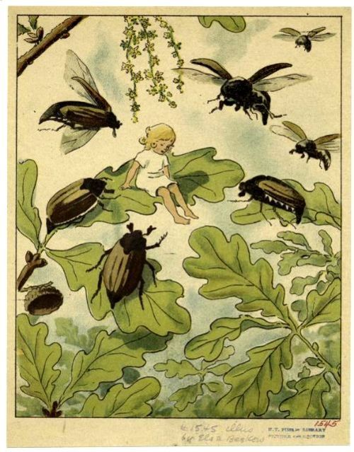 "Elsa Beskow - ""Daumelischen"" by   Hans Christian Andersen, Munich:   Georg Dietrich, ca. 1920.  Tesla made a helicopter of June Bugs."