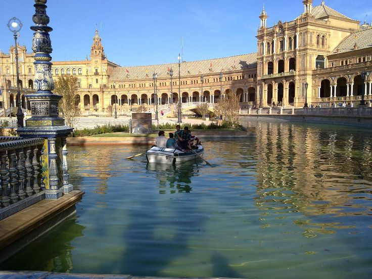 Seville, Spain. Row your boat on the canal at Plaza de España.