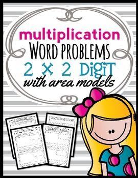 area model multiplication 2 x 2 digit word problems complete lesson packet number diva. Black Bedroom Furniture Sets. Home Design Ideas