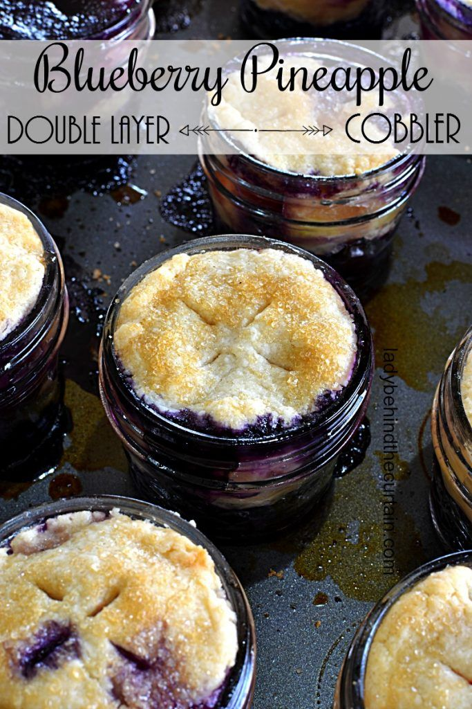 Double Layer Blueberry Pineapple Cobbler |  Two cobblers in one!  The bottom layer is a blueberry cobbler filled with plump and juicy fresh blueberries and
