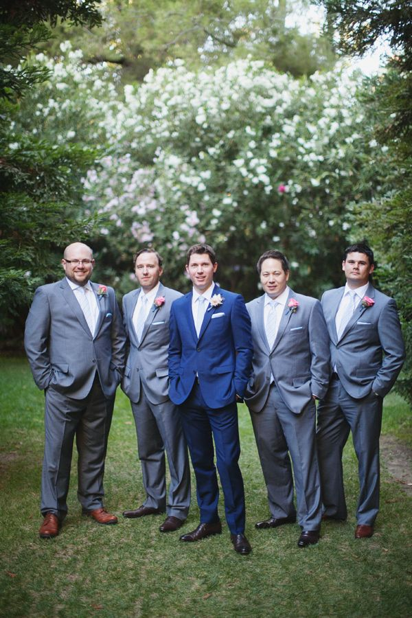 THIS IS PERFECT!!!!!  I like the blue suit on the groom with gray on his groomsmen