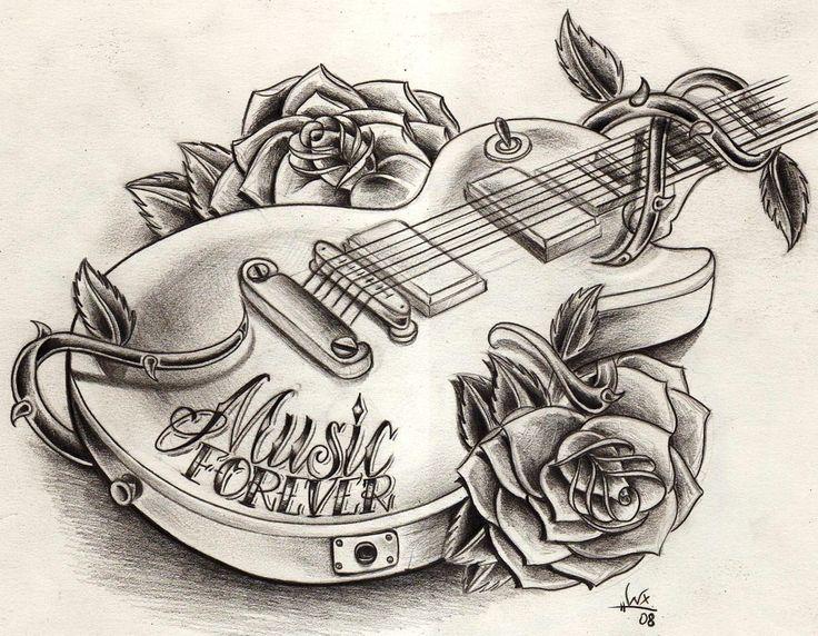 Guitar tattoo drawing | Tattoos | Pinterest | Guitar Drawing ...