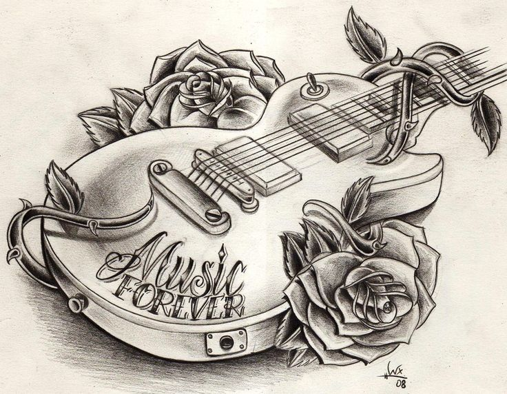 Guitar tattoo drawing | Tattoos | Pinterest | Guitar Drawing ...