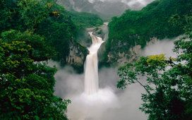 waterfall, wallpapers, forest, mountains, wallpaper, river, original, yekvador, vodopad, gdefon, ecuador