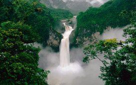 waterfall, wallpapers, forest, mountains, wallpaper, river, original, yekvador, vodopad, gdefon, ecuador
