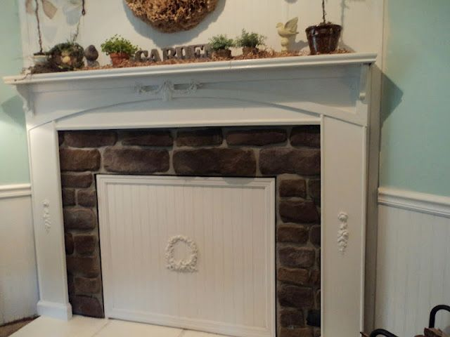DIY beadboard cover the fireplace for spring & summer.