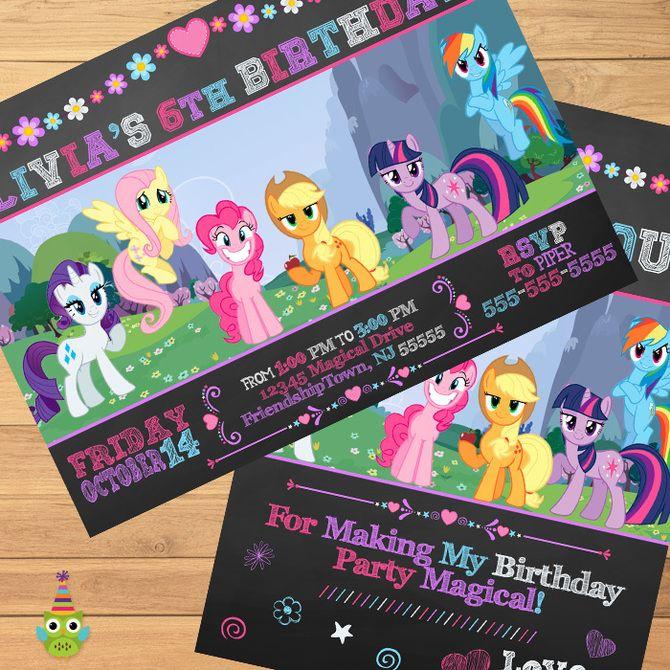 Printable My Little Pony Invitation & Thank You - Chalkboard