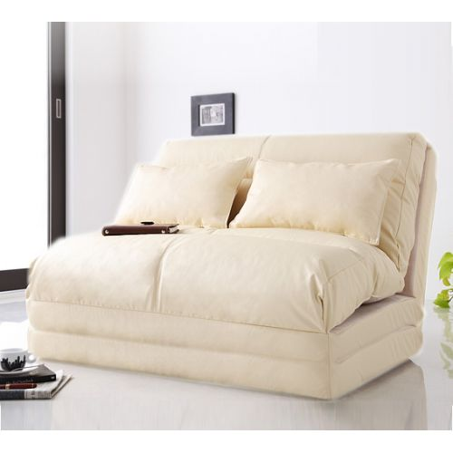 FLEXI-FUTON Foldable Adjustable Futon Sofa Bed DOUBLE IVORY with BASE - Urban Sales NZ