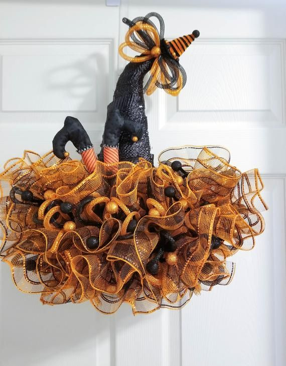 Front Door Halloween Wreath, Whimsical Witches Hat with Legs, Black and Orange, Fall Decoration, Seasonal Door Hanger, Twisted Oak Boutique