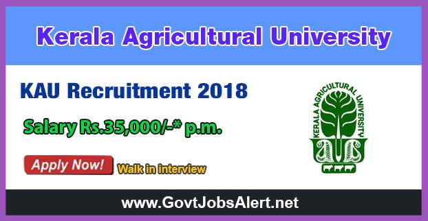 KAU Recruitment 2018 – Walk in Interview for Teaching Assistant Posts, Salary Rs.35,000/- : Apply Now !!!  The Kerala Agricultural University - KAU Recruitment 2018 has released an official employment notification inviting interested and eligible candidates to apply for the positions of Teaching Assistant in Plant Breeding & Genetics, Plant Pathology, Horticulture and Agronomy.   #2018 #Agronomy #Bachelor'sDegree #Bachelor'sdegreeinAgriculture #Bachelor'sDegreejobs