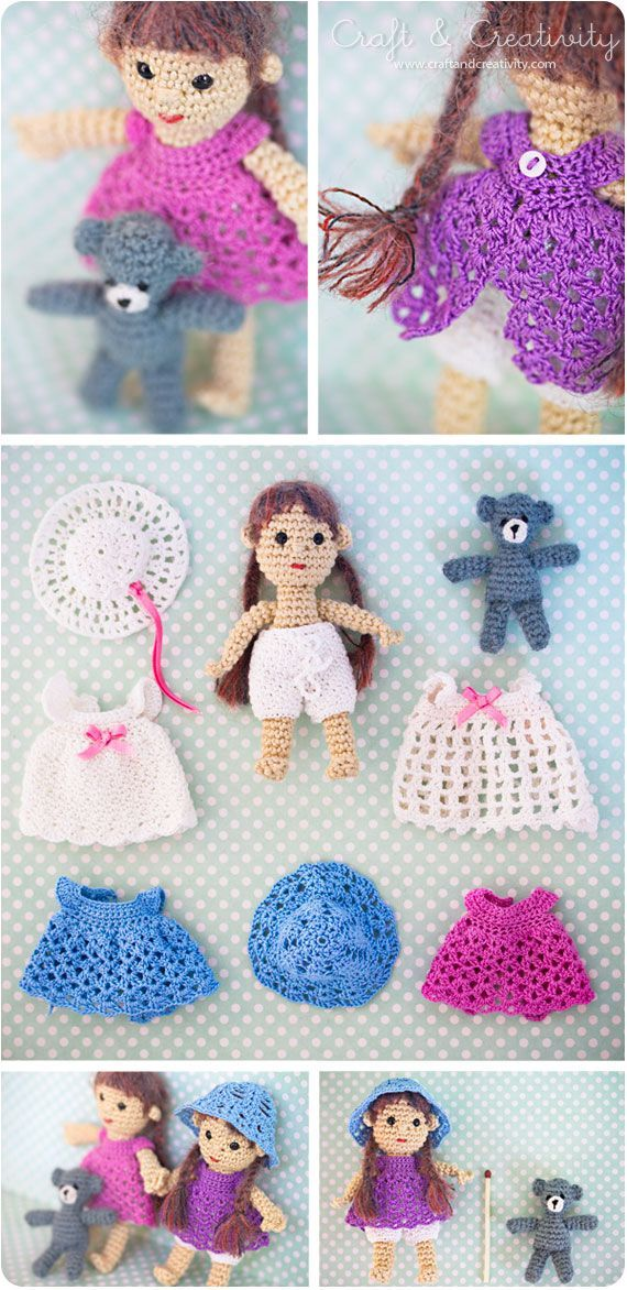 Crochet doll with crochet clothes. Free pattern..