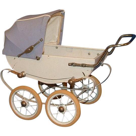 This is a vintage RED Brand Doll Baby Buggy Pram Carriage with a light blue canopy hood and a white metal buggy. The buggy most likely had a light
