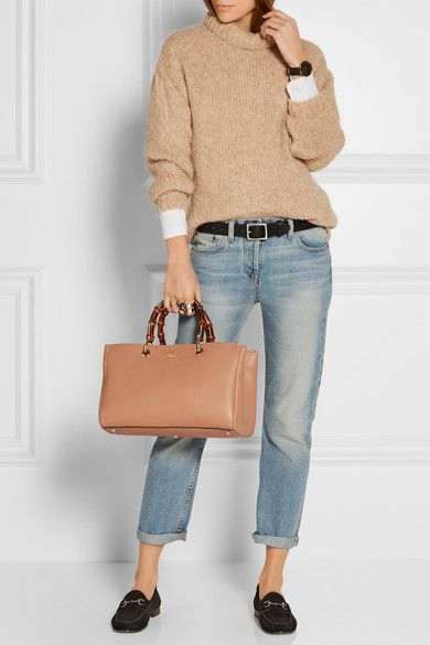 Gucci   Bamboo Shopper medium textured-leather tote   NET-A-PORTER.COM